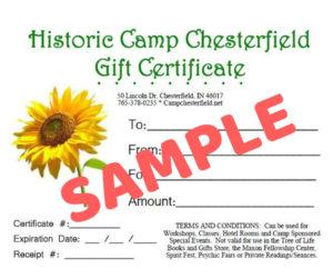 Camp Chesterfield Gift Certificate